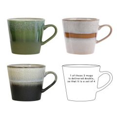 ceramic 70's cappuccino mugs set of 4 hk living