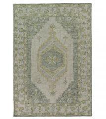 Hoogpolig Vintage Vloerkleed Beige Groen - Prax