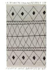 Wollen Berber Vloerkleed Wit Zwart - Zouz
