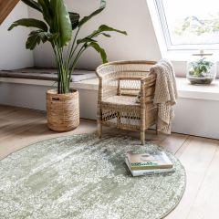 Vintage Vloerkleed Bloom rond - Groen - EVA Interior