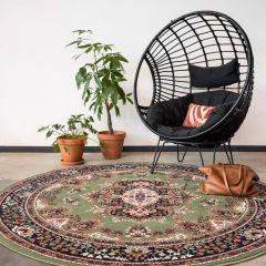 Vintage Vloerkleed Groen Rond - Perzisch - Retro - 160cm (M) - Nain - Interieur05