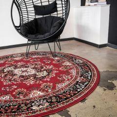 Vintage Vloerkleed Rood Rond - Perzisch - Retro - 235cm (XL) - Nain - Interieur05