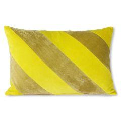 HKliving striped velvet cushion yellow/green (40x60)