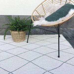 Buiten vloerkleed Block- Groen/Wit -  dubbelzijdig - EVA Interior