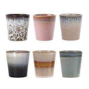 ceramic 70's mugs set of 6 hk living