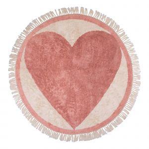 Kindervloerkleed Round heart  - Hart - 120 rond - Tapis Petit