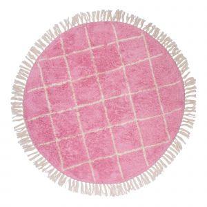 Kindervloerkleed Round pink crosses  - Strepen - 100 rond - Tapis Petit