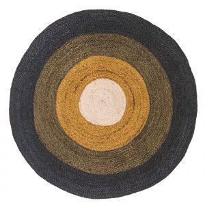 Kindervloerkleed Round Ocher  - Jute Groen/Blauw - 100 rond - Tapis Petit