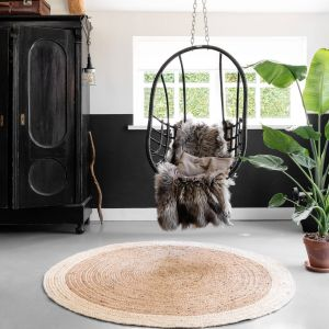 Rond vloerkleed Jute Naturel/Wit