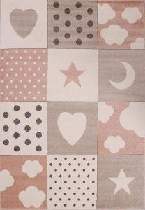 Kindervloerkleed Vakken / Patchwork Roze kinderkamer - Kim