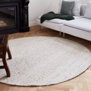 Rond vloerkleed wollen Antraciet/Wit - Cobble Stone
