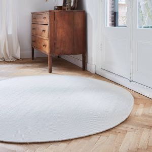 Rond vloerkleed wollen Wit - Cobble Stone