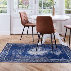 Vintage vloerkleed Blauw/Donkerblauw - Infinity