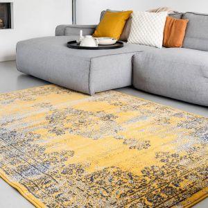 Vintage Vloerkleed Bloom - Okergeel/Grijs - EVA Interior