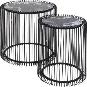Kare Design Bijzettafel Wire Marmer/Glas Zwart (2/set) dia:44cm