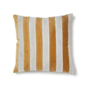 HK LIVING striped cushion velvet grey/gold (50x50)