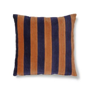 HK LIVING striped cushion velvet blue/orange (50x50)
