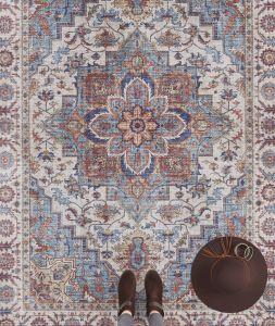 Vintage Vloerkleed Asmar cyan-Blauw 104002 Nouristan