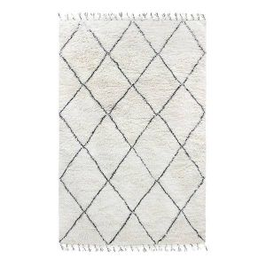 HK living vloerkleed woolen berber rug black/white