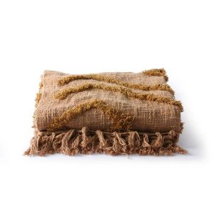 HK LIVING  cotton fringe pattern throw brown (130x170)
