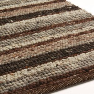Wollen vloerkleed Greenland Stripes 1042 Donker Bruin - Brinker
