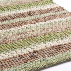 Wollen vloerkleed Greenland Stripes 1044 Groen Bruin - Brinker