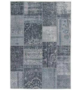 Vintage Patchwork Vloerkleed Grijs Blauw - Bukan