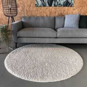 Hoogpolig Rond Vloerkleed Wit - Shaggy Collection