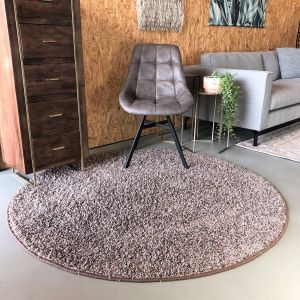 Hoogpolig Rond Vloerkleed Taupe - Shaggy Collection