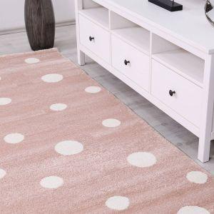 Roze Vloerkleed Stippen Kinderkamer - Sem