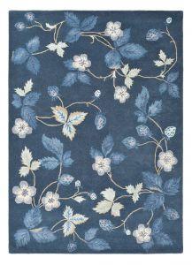 Vloerkleed Blauw/Donkerblauw bloemen Wild Strawberry - Wedgwood