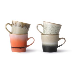 hkliving ceramic 70's americano mugs set of 4