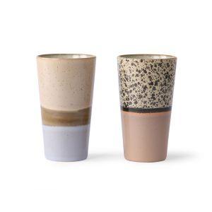 HK Living ceramic 70's latte mugs (set of 2)