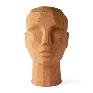 HKLiving  abstract head sculpture terracotta
