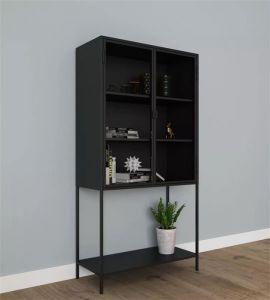 Kast staal zwart met glazen deurtjes 70x35x150