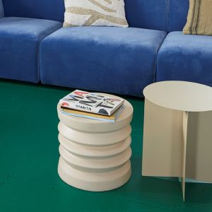 HKLiving bijzettafel stoneware cream steen 38x38x36cm