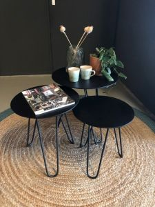Polvo Sofa table set of 3 Black Matt