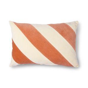 HKLiving striped cushion velvet peach/cream (40x60)