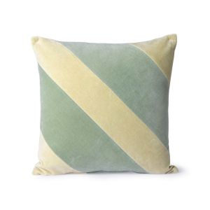 HK Living striped velvet cushion mint/green (45x45)