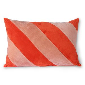 HK Living striped velvet cushion red/pink (40x60)