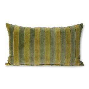 HKliving striped velvet cushion green/camo (30x50)