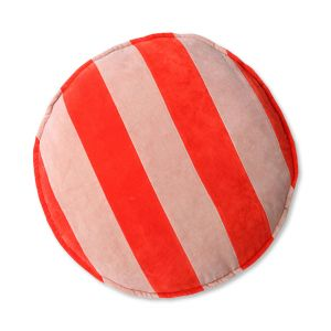 HKliving gestreept fluwelen zitkussen rond rood / roze (ø60)