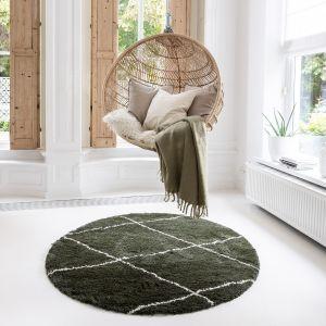 Berber Rond vloerkleed hoogpolig Groen/Cream - scandinavisch - nea - Interieur05