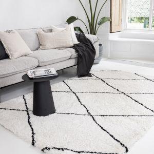 berber vloerkleed hoogpolig wit/zwart - scandinavisch - nea - interieur05