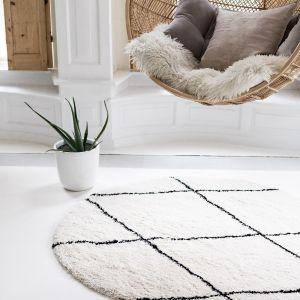 Berber Rond vloerkleed hoogpolig Wit/Zwart - scandinavisch - nea - Interieur05